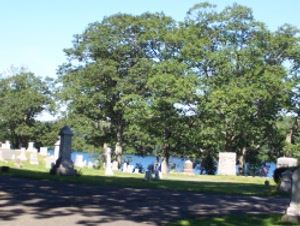 Gravestones and trees in the cemetery